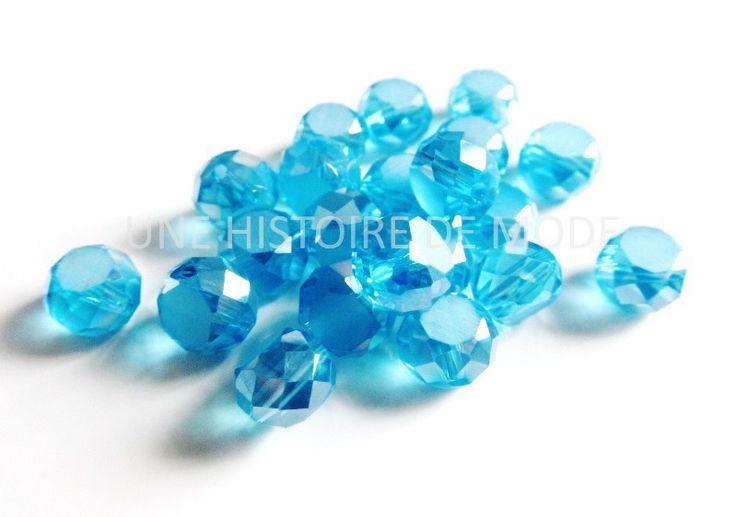20 perles à facettes en cristal bleu irisé AB - 8 mm : Perles en Cristal, Swarovski® par une-histoire-de-mode