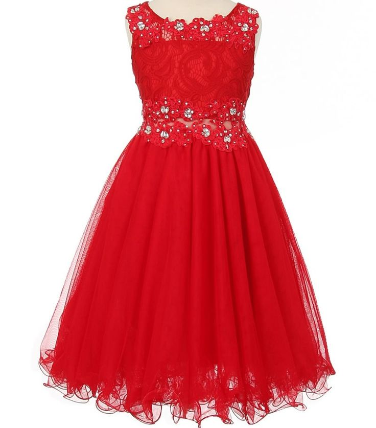 Bali - Red Lace Ruffled Mesh Girls DressBali - Red Lace Mesh Flower Girl Dress Is bold red your wish for a wedding color theme. This dress won't dissapoint for your flower girl or junior bridesmaid choice. Available in girls size 4 to teen size 16. This mesh skirt is multi layered for a fully elegant party look.