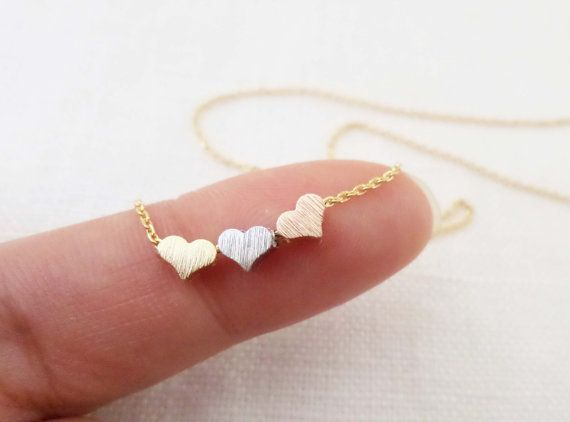 Tiny 3 hearts necklaces, gold, silver, and rose gold hearts on gold or silver chain.