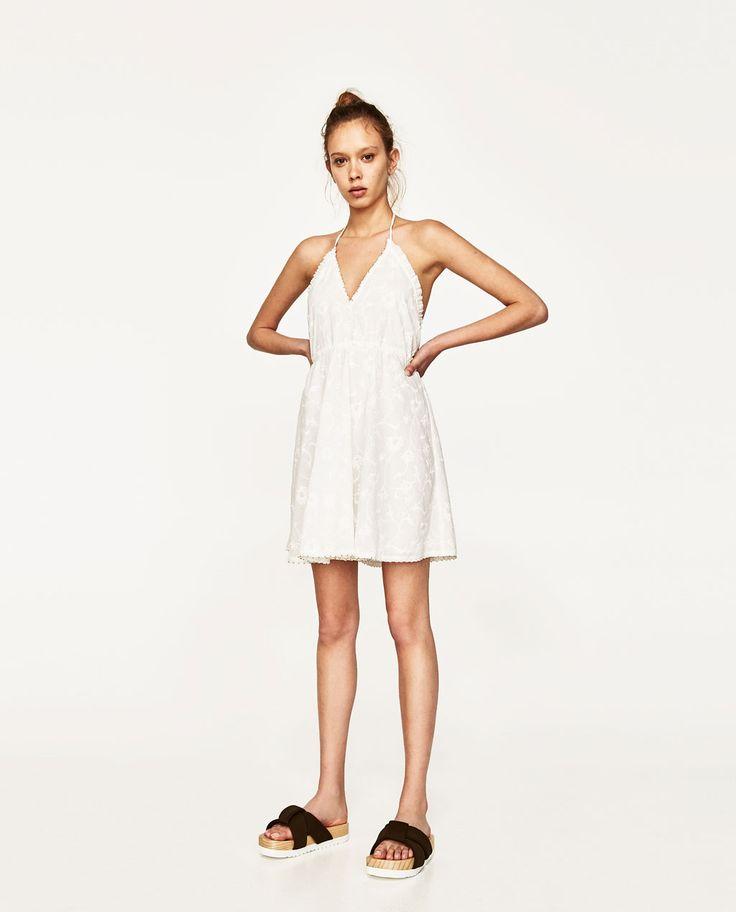 EMBROIDERED MINI HALTER DRESS-Short-DRESSES-WOMAN   ZARA ...