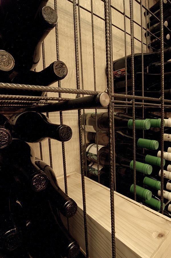 Rebar wine shelving at Red Pif Restaurant and Wine Shop