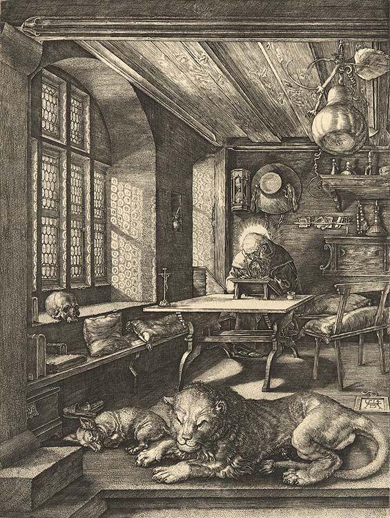 """""""Hieronymus im Gehäus"""", Kupferstich von Albrecht Dürer"""