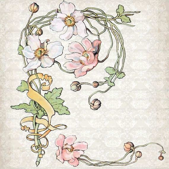 Vintage Art Nouveau Watercolor Anemone Clipart by TanglesTreasures, $2.50