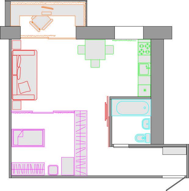 Фотография:  в стиле , Малогабаритная квартира, Квартира – фото на InMyRoom.ru  3. Семья с ребенком до двух лет