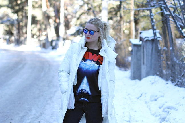 The IT Blogger Veronica Ferraro from The fashion fruit wears a Peuterey 10th Years Anniversary jacket designed by Terence Koh