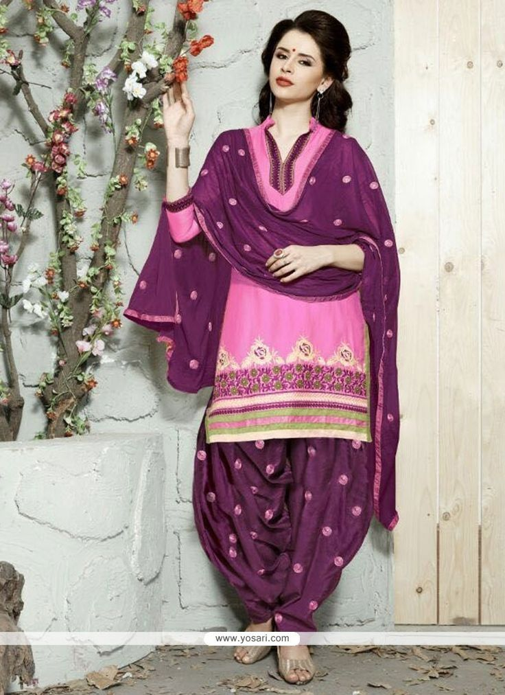 Winsome Cotton   Resham Work Trendy Punjabi patiala Suits Model: YOS6828