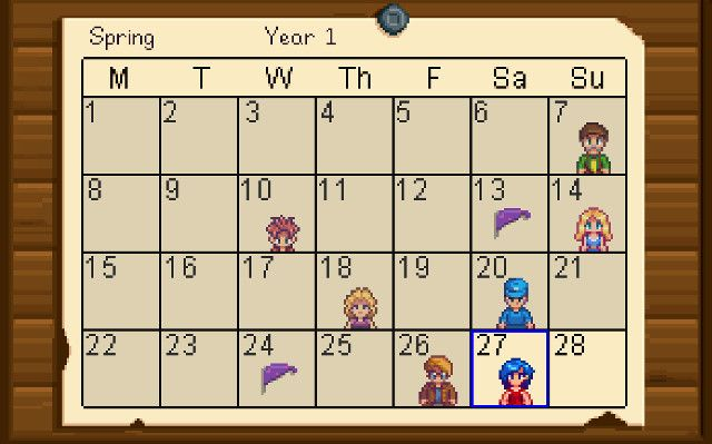 Stardew Valley Spring Calendar Yahoo Image Search Results