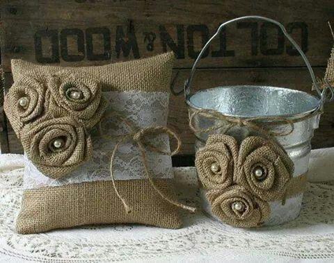 Ring bearer pillow and flower girl petal bucket