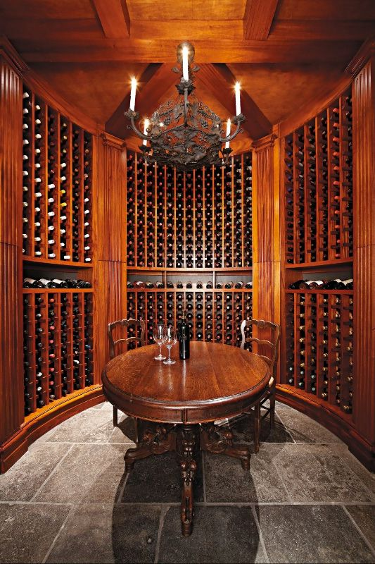 Stained Wood Round Wine Cellar Luxury Wine Cellar