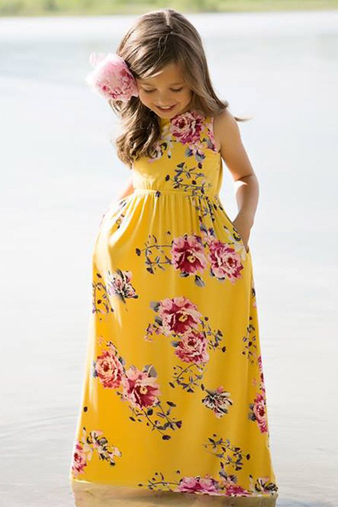 33c50eff33 US$ 6.79-Yellow Floral Print Sleeveless Little Girl Maxi Dress Dropshipping