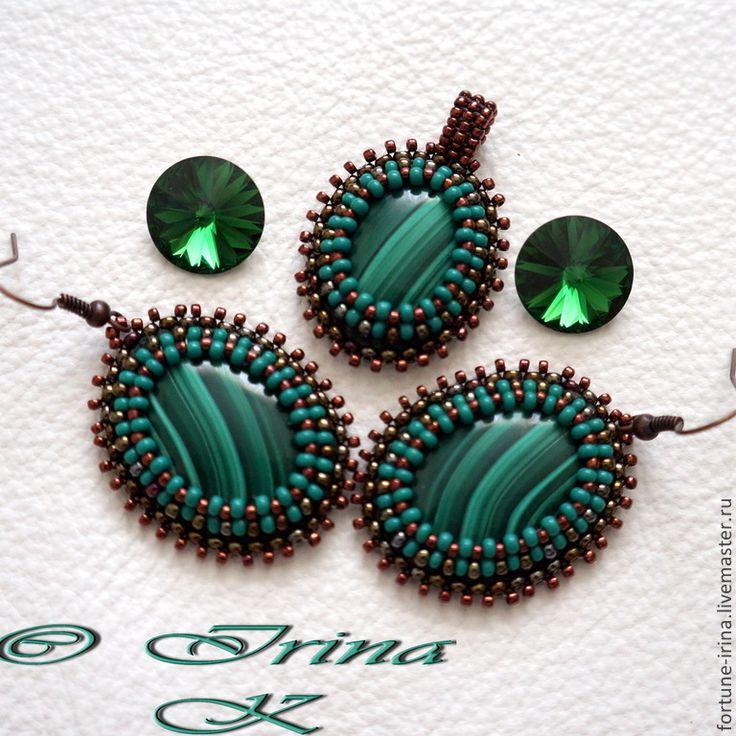 Купить Два комплекта c натуральными камнями: Лесные тайны - зелёный, авторские украшения