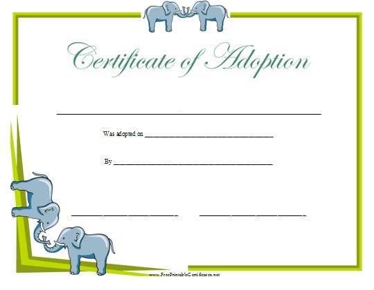 12 best forms images on pinterest printable certificates award certificate of adoption printable certificate yadclub Gallery
