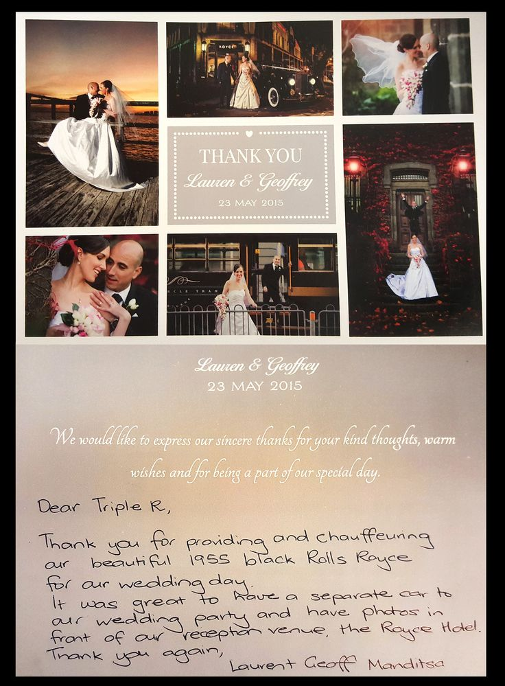 a BIG thank you to Lauren and Geoffrey for sending us this postcard in the mail.Its always lovely receiving feedback like this from such a happy couple. Lauren the photos from your wedding day look amazing...the Royce Hotel shot is great smile emoticon #happybride #thankyou #review #bride #couple #weddingcars #tripler #customerreview #brideandgroom #weddingday