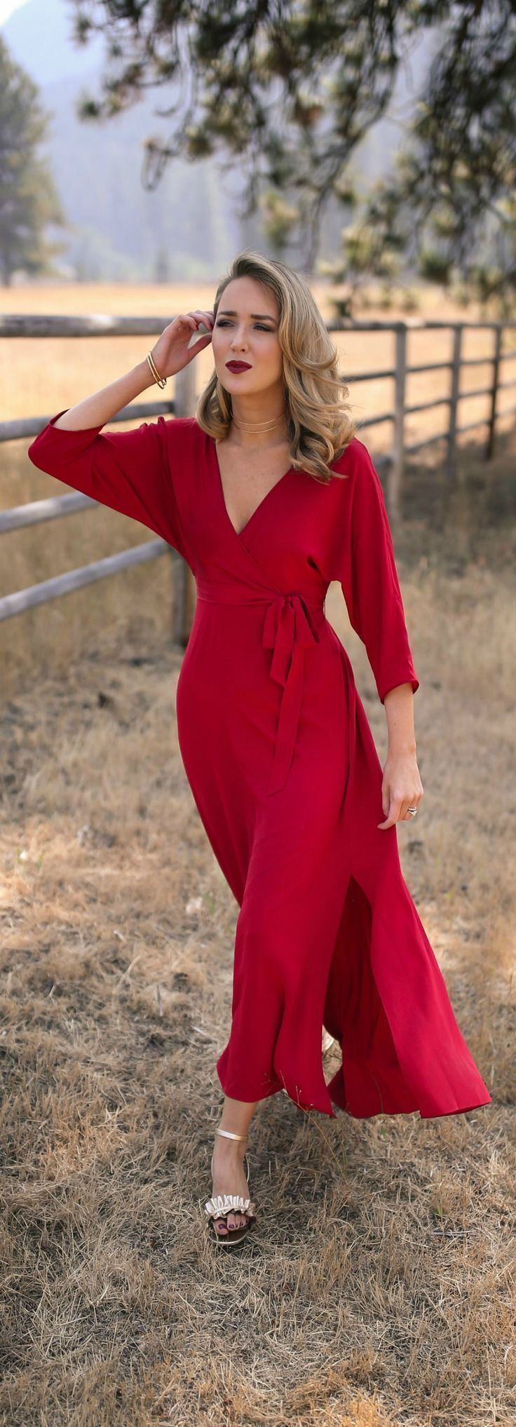 Click for outfit details! // Red floor-length wrap dress, gold ruffle sandals, multirow choker, circle drop earrings, gold bangles {Diane Von Furstenberg, Marks & Spencer, Argento Vivo, Armani, fall wedding style}