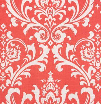 Ozborne Coral / White fabric $7.47/yd from warehousefabricsinc.com. also have white/coral chevron fabric