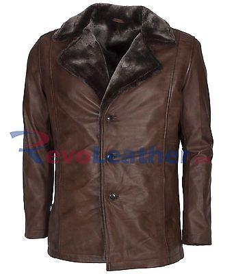Hugh Jackman X-Men Fur Brown Waxed Vintage Style Warm Leather Coat For Men
