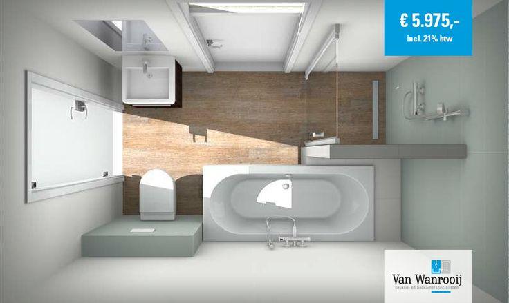 Complete badkamer met keramische houtlook tegels voor ? 5 975