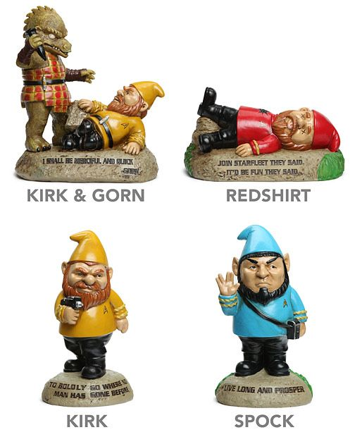 This may have to be my new favorite Star-Trek-Geek gift. Busted a gut when I saw the generic -dead - red shirt guy --Star Trek Garden Gnomes