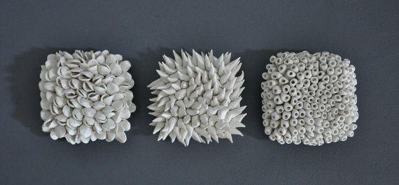 Lot de 3 tuiles Micro - lot de 3 Art céramique sculpture porcelaine murale Art mur carreaux