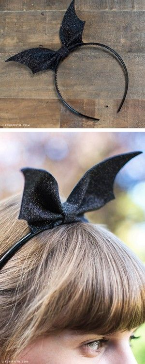 DIY Bat Headband Tutorial and Template from Lia Griffith. Make this cheap and easy DIY Bat Headband out of felt and a headband. Nothing could be more simple. I also like thisDIY Bat Bow Tutorial from Nicest Things here.