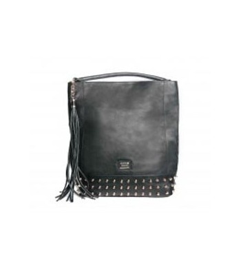 Pu leather maxi bucket black bag with cone bosses ornaments and maxi tassel.  http://shop.mangano.com/en/bags/16435-borsa-mildred-bag-nero-borchie.html  #fashion #bag