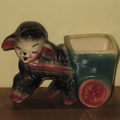Vintage Black Sheep Planter Hand Painted Porcelain Lamb & Cart for Baby Nursery