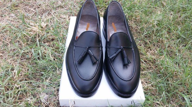 Handmade men black genuine leather tassel mocassins, Men formal shoes, Men shoes - Dress/Formal