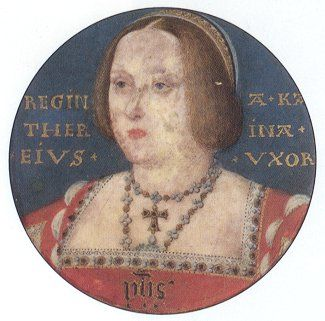 Catherine of Aragon, first wife of Henry VIII, age 40. (She was very short, and after numerous pregnancies, overweight. Despite how she's often portrayed in movies and TV shows, she was fair skinned, with light auburn hair and light eyes. Her parents were Isabella and Ferdinand of Spain.)