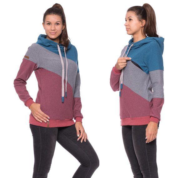 Modern maternity jumper in color blocking design, breastfeeding sweatshirt, pregnancy apparel, winter hoodie, berry-gray-blue mixed, DORIAN