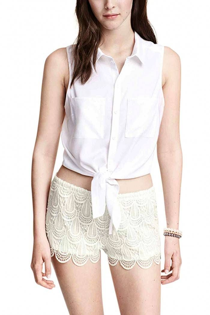 white sleeveless collared self-tie crop top