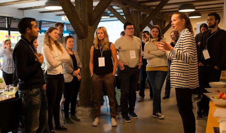 Lærke Ullerup facilitating Climathon in Copenhagen. A 24 hour climate hackathon organised by Climate-KIC Nordic