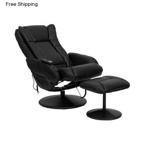 Leather Massager Chair Heated W Ottoman Contemporary Recliner Swivel Chairs New #Recliner