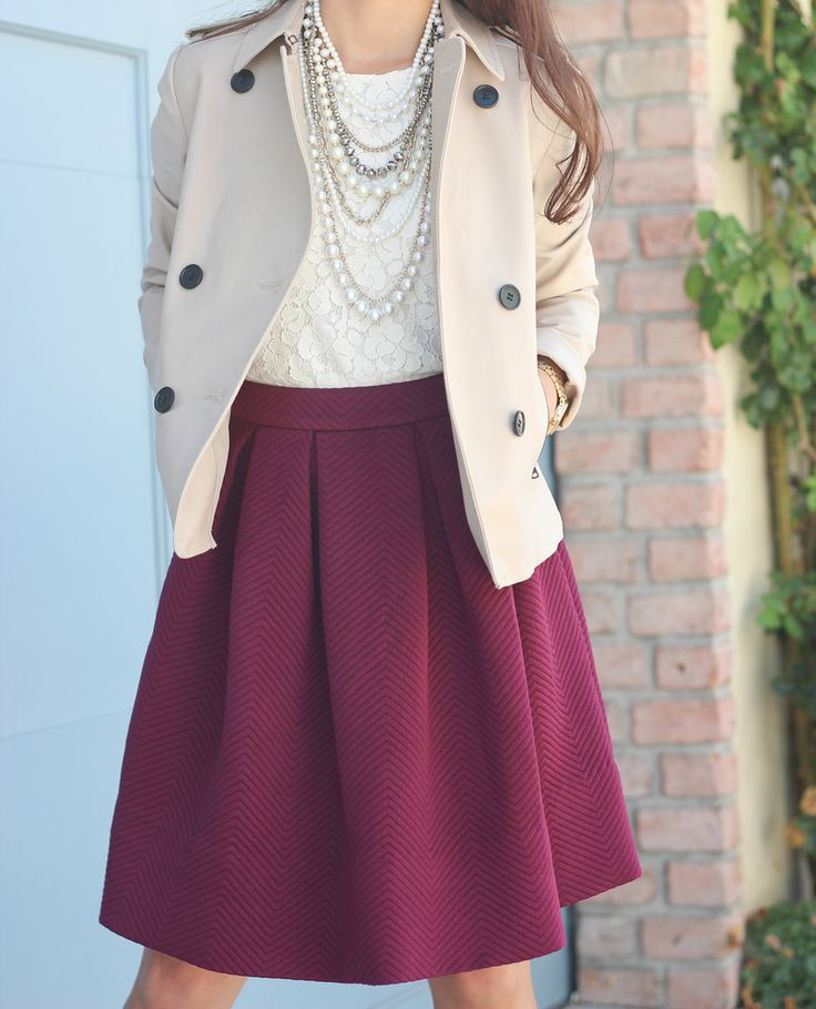 Burgundy skirt - lace top - necklaces - cropped trench jacket //  Click on the following link to see all of the photos and outfit details:  http://www.stylishpetite.com/2014/09/burgundy-and-lace.html