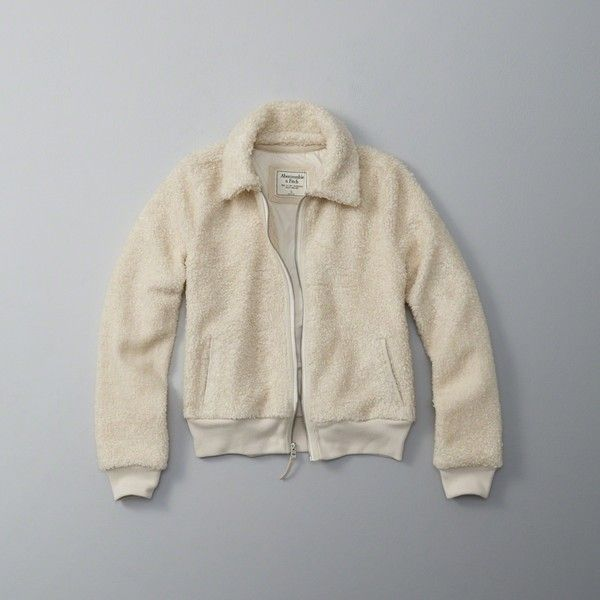 Abercrombie & Fitch Sherpa Trucker Jacket ($88) ❤ liked on Polyvore featuring outerwear, jackets, cream, abercrombie fitch jacket, sherpa trucker jacket, trucker jacket, cream jacket and cold weather jackets
