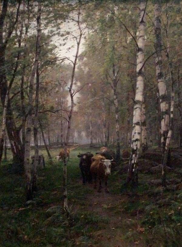 Victor Westerholm Troupeau - dans un bois de bouleaux, 1886