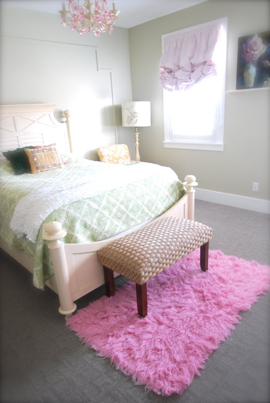 Girls Bedroom Pink Flokati Rug Seagrass Bench Pink
