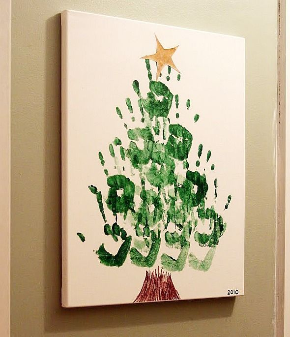 Hand Print Christmas Tree Canvas