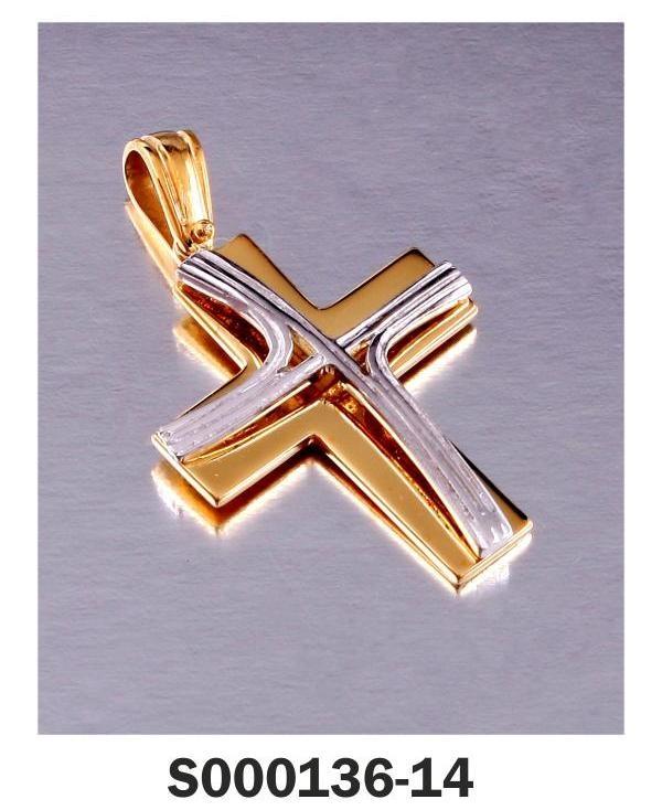 Cross Yellow, White Gold 18-k