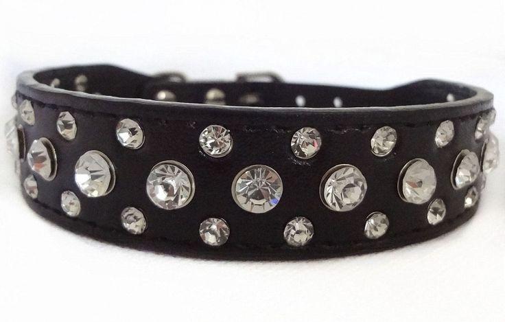 HB119 - Halsband strass, zwart 21-27cm
