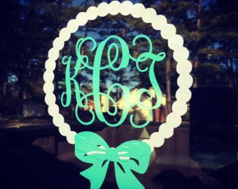 Custom Monogrammed Pearl Circle with Bow; Car Decal; Preppy Girl Car Decal