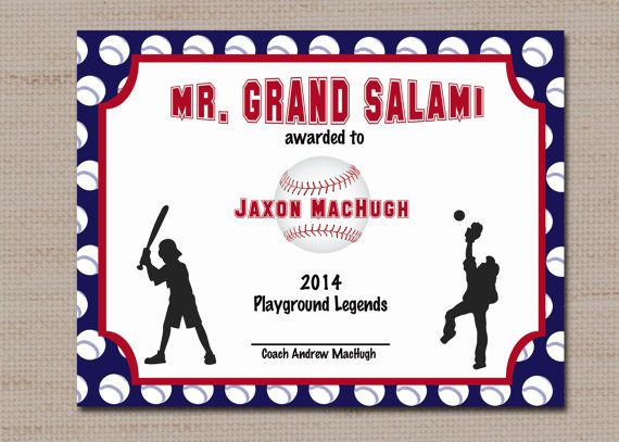 baseball sports award certificate 85 x 11 printable by lovebabble 200 wwwetsy