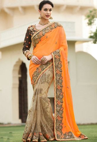 Beige Georgette, Net Designer Saree With Embroidery Work..@ fashionsbyindia.com #designs #indian #fashion #womens #style #cloths #fashion #stylish #casual #fashionsbyindia #punjabi #suits #wedding #saree #chic #elegance #beauty #outfits