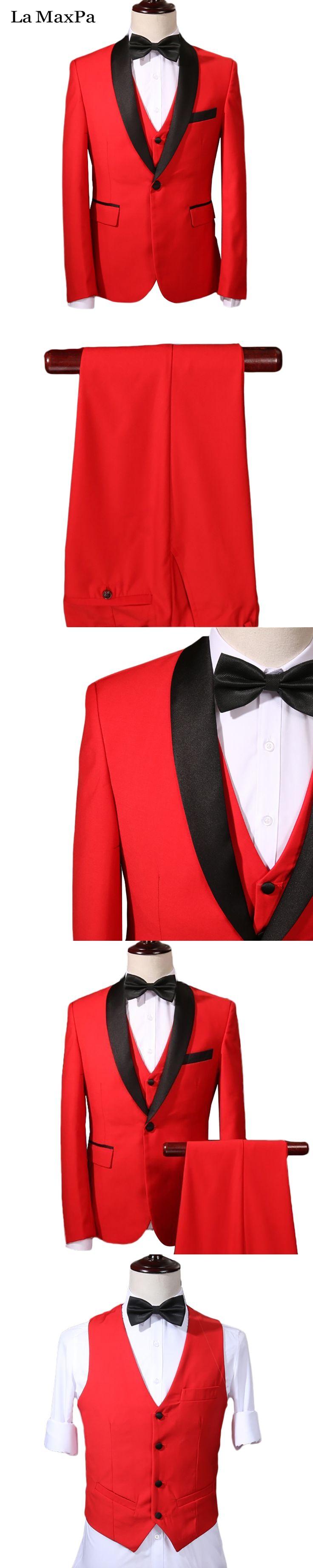 La MaxPa (jacket+pants+vest) 2017 New brand custom made men suit wool wedding suit for man slim fit prom party red business suit
