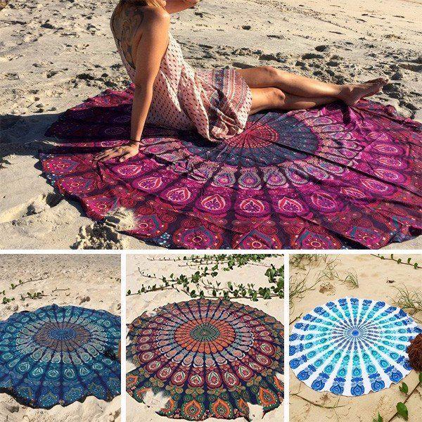150cm Bohemian Style Thin Chiffon Beach Yoga Towel Mandala Round Bed Sheet Tapestry Tablecloth Silk Scaf