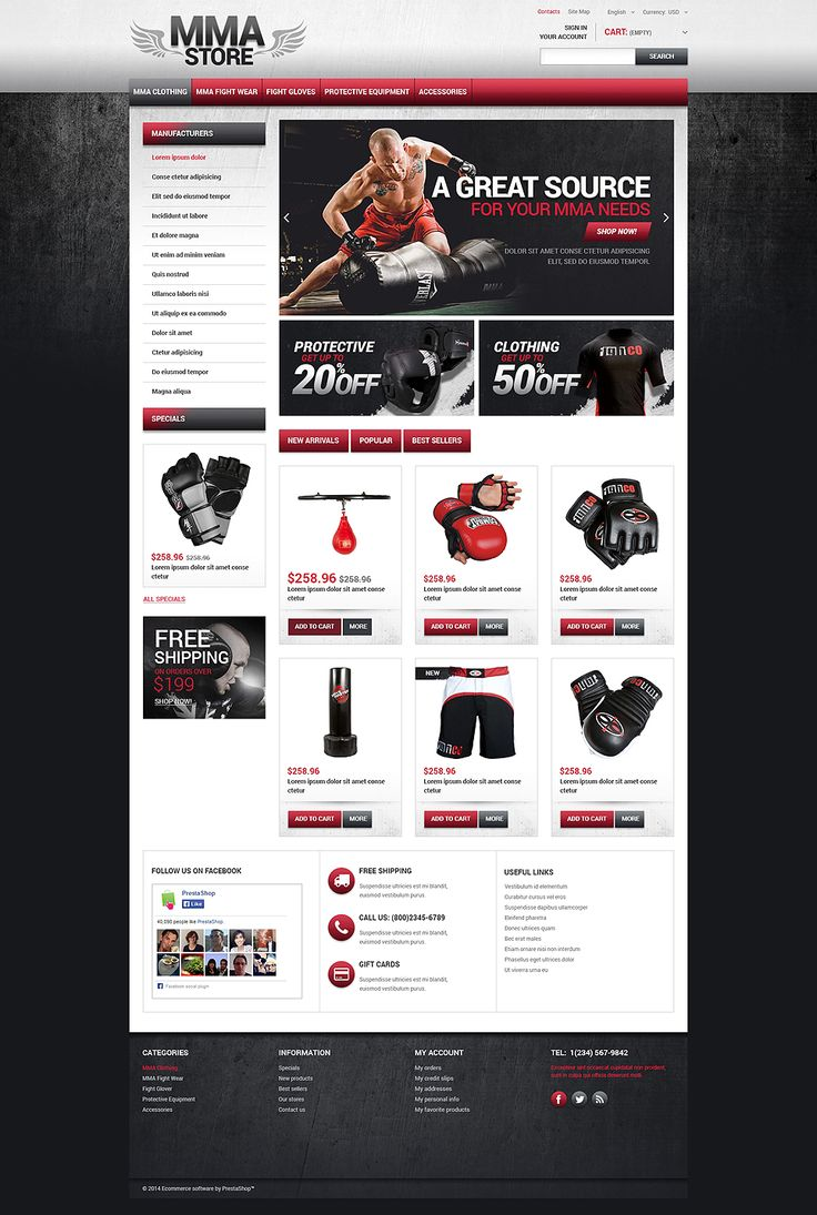 12+ Sports Shop Clothing & Accessories Ecommerce Website Templates (Sports Store PrestaShop Themes) - MMA Store