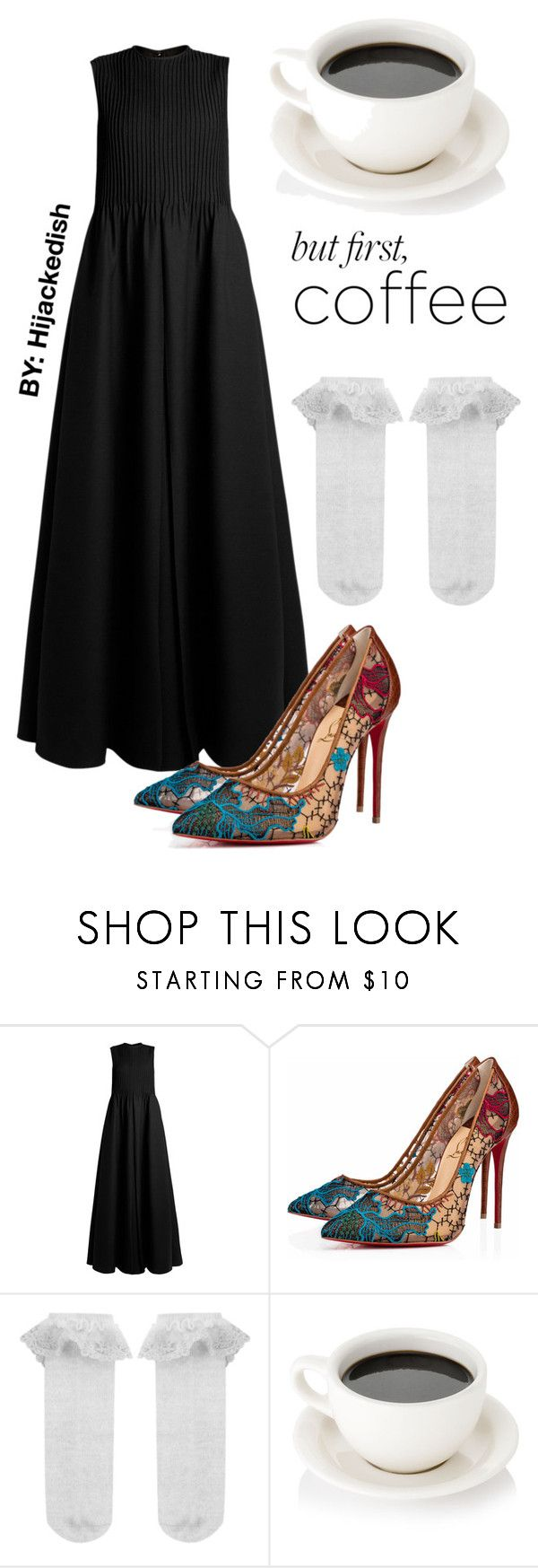 """""""but first, coffee"""" by hijackedish on Polyvore featuring Valentino, Christian Louboutin and Monsoon"""