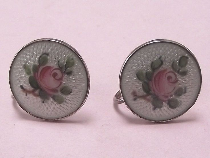 VINTAGE IVAR HOLTH NORWEGIAN SILVER & ENAMEL SCREW-ON EARRINGS 1940