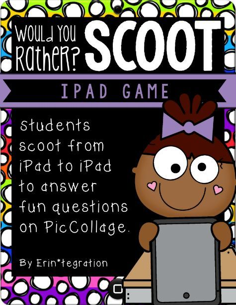 A technology twist on the traditional Scoot game! Instead of a task card, leave an iPad on each desk with the app Pic Collage. Easily integrate iPads into your back-to-school plans with this print and go, getting-to-know-you iPad game
