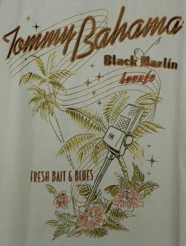Tommy Bahama Ivory Silk Hawaiian Aloha Shirt Black Marlin Lounge Club Size XL #TommyBahama #Hawaiian