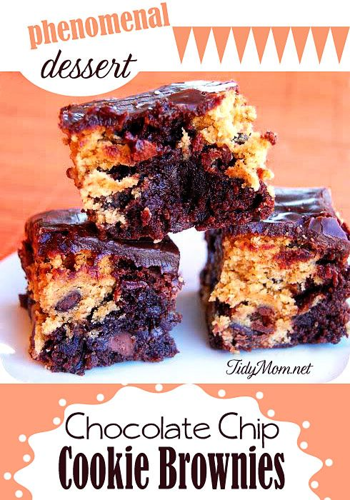 You NEED these! Phenomenal Chocolate Chip Cookie Brownie Recipe at TidyMom.net